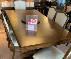 "Canadel solid birch 7 piece dining set 42""x72' table incl 1 leaf and 6 upholstered dining chairs"