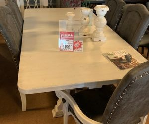 "Canadel 7 piece solid birch dining set 42""x80"" table no leaf and 4 upholstered dining chairs and 2 upholstered arm chairs"