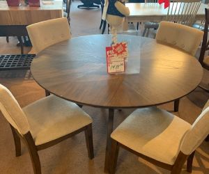 "5 piece wood dining set 52"" round with 4 upholstered chairs"