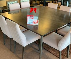 "Canadel table set 8 fabric chairs and solid 60"" square solid birch table"