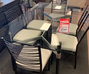 "Amisco 7 piece glass top table 42""x72"" with 6 metal chairs"