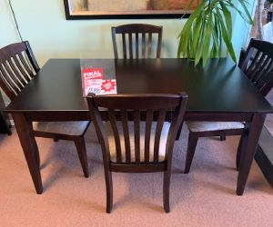 "Canadel 5 piece solid wood dining set 36""x64"" table incl leaf and 4 chairs"