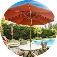 Too Sunny? Get an umbrella for your patio