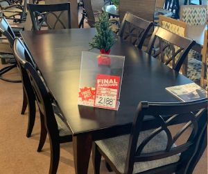 "Canadel solid wood 7 piece dining set 38""x76"" inc. 1 leaf"